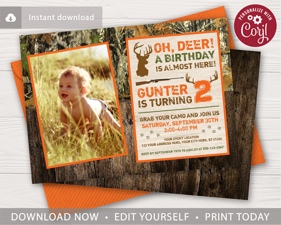 Picture of Deer Hunting Birthday Invitation