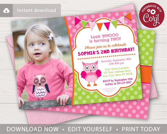 Picture of Owl Birthday Invitation