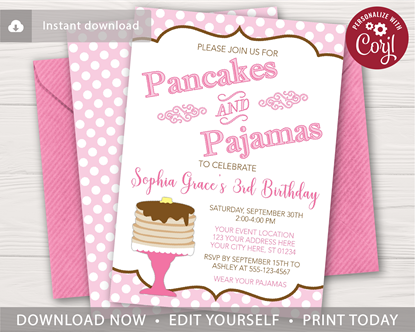Picture of Pancakes and Pajamas Invitation | Pink