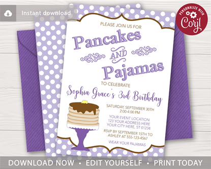 Picture of Pancakes and Pajamas Invitation