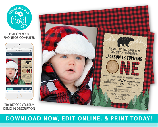 Picture of Lumberjack First Birthday Invitation