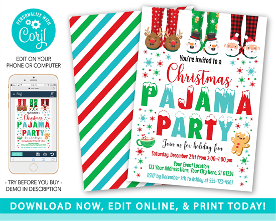 Picture of Christmas Pajama Party Invitation