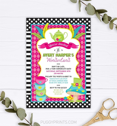 Editable Alice in Wonderland Invitation by Puggy Prints
