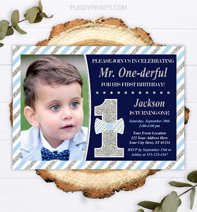 Picture of Mr. ONEderful Birthday Invitation with Photo | Navy and Silver