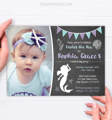 Picture of Mermaid Birthday Invitation with Photo