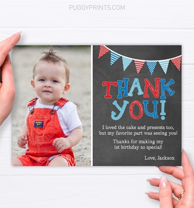 Picture of First Birthday Thank You Card with Photo