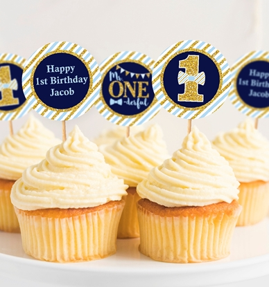 Picture of Mr. ONEderful Birthday Cupcake Toppers in Navy, Baby Blue, and Gold
