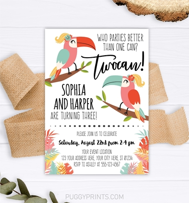 Picture of Toucan Birthday Invitation Twin Girls