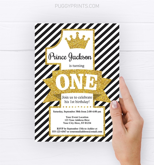 Picture of Prince Birthday Invitation in Black and Gold