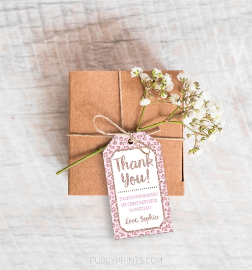 Picture of Cheetah Birthday Favor Tags in Rose Gold and Pink