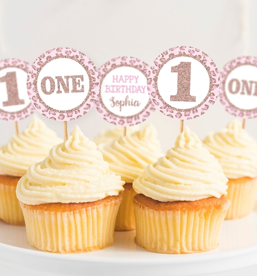 Picture of Cheetah Birthday Cupcake Toppers in Rose Gold