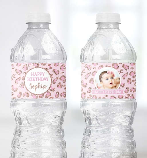 Picture of Cheetah Birthday Water Bottle Labels in Rose Gold