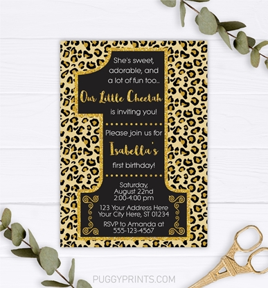 Picture of Cheetah First Birthday Invitation