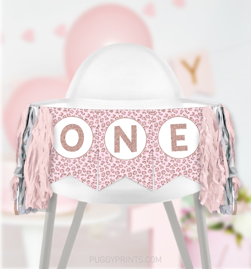Picture of Cheetah First Birthday High Chair Banner in Rose Gold