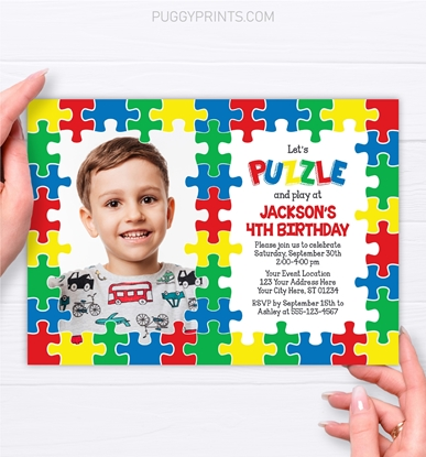 Picture of Puzzle Birthday Invitation with Photo