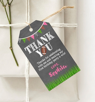 Picture of Football Birthday Favor Tags in Pink