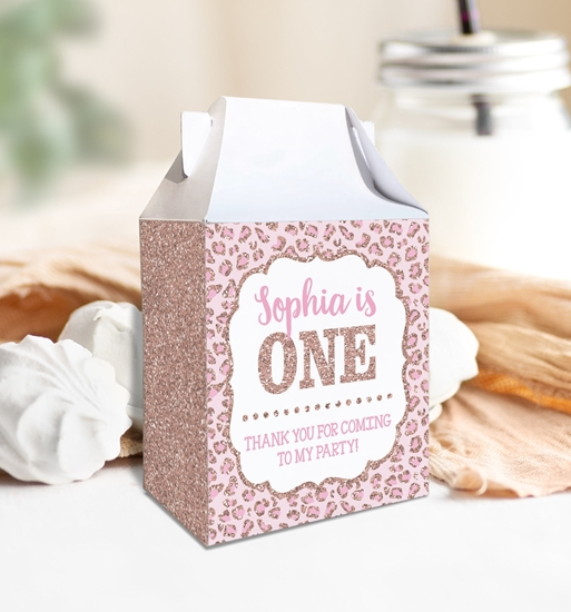 Picture of Cheetah Birthday Party Favor Box in Rose Gold