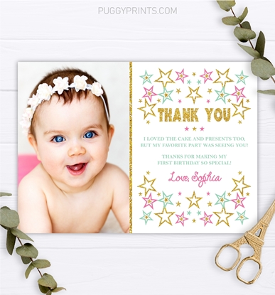 Picture of Twinkle Twinkle Little Star Birthday Thank You Card with Photo