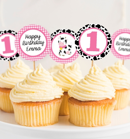 Picture of Cow Birthday Cupcake Toppers in Pink