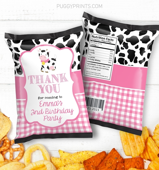 Picture of Cow Birthday Chip Bags in Pink